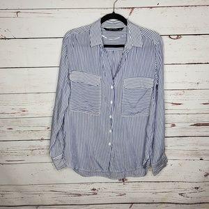 Zara Striped Long Sleeve Button Down Top